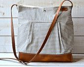 BEST SELLER Diaper bag / Messenger bag STOCKHOLM Gray  geometric nautical striped  Leather / Featured on The Martha Stewart
