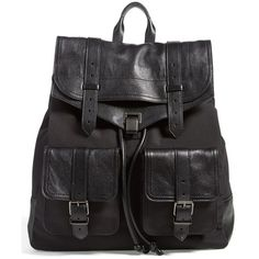 Proenza Schouler 'Extra Large PS1' Nylon & Leather Backpack (7 000 PLN) ❤ liked on Polyvore featuring bags, backpacks, accessories, black, leather knapsack, nylon drawstring backpack, leather backpack, multi pocket backpack and leather drawstring backpack