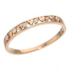 2個買えば送料無料 - K10ピンクゴールド ダイヤハートリング 9号 Bangles, Bracelets, Gold Rings, Rose Gold, Jewelry, Products, Jewlery, Bijoux, Jewerly