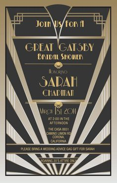 Great Gatsby Style Invitations by PlatinumShoppette on Etsy, $15.00