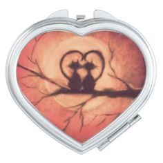 Cute cats in love Valenitne's Day compact mirror by Johanna Jarvinen - - 15% OFF ALL ORDERS!
