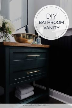 We'll show you step-by-step how to make this bathroom vanity with drawers (well the look of drawers). It's actually a door to allow to maximum storage! A homemade vanity is exactly what your bathroom or powder room needs! This vanity was painted with Sherwin Williams Jasper. #bathroomvanity #diyvanity #diyfurniture #beginnerwoodworking #madewithkreg #bathroominspo