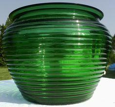 Antique brilliant emerald ribbed peony vase-bowl-antique green depression glass vase. $20.00, via Etsy.