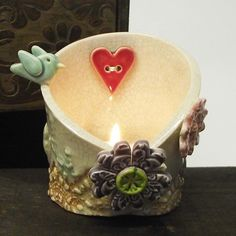 This decorative little candle holder is made from white earthenware clay. It is decorated with a lave and floral pattern and then fired once. Painted Pottery, Pottery Mugs, Pottery Painting, Pottery Ideas, Earthenware Clay, Ceramic Clay, Clay Candle Holders, Air Dry Clay, Clay Ideas