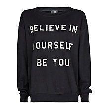 Mango Message Cotton Sweatshirt, Black Online at johnlewis.com #Sweatshirt #Monochrome #JohnLewis