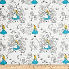 Disney Alice In Wonderland Golden Afternoon Toile Light Grey from @fabricdotcom  Get ready for a tea-party! Licensed by Disney to Camelot Fabrics, this Alice in Wonderland cotton print collection features all your favorite characters, like Alice, the Cheshire Cat, the Queen of Hearts, and the Mad Hatter. It is of a nice quality, and perfect for quilting, apparel and home décor accents. This is a licensed fabric and is for home use only. Colors include white, grey, blue, peach, yellow, and…