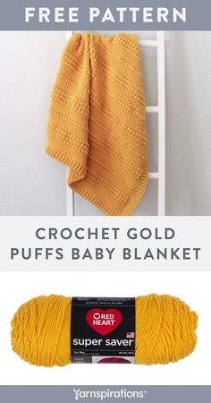 Free Gold Puffs Baby Blanket crochet pattern using Red Heart Super Saver yarn. This free crochet baby blanket pattern is an easy way to practice your moss and puff stitches, plus an opportunity to give a sentimental hand-made gift to a little loved one. Finish off the blanket with a border in front and back post double crochets. #Yarnspirations #FreeCrochetPattern #BabyBlanket #PuffStitch #RedHeartYarn #RedHeartSuperSaver Crochet Blanket Patterns, Baby Blanket Crochet, Crochet Baby, Knit Or Crochet, Free Crochet, Back Post Double Crochet, Kids Blankets, Super Saver, Red Heart Yarn