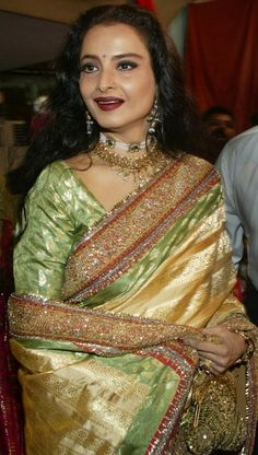 Rekha looks amazing in Green Banarasi Saree. Shop Now > http://www.shopatplaces.com/apparel/sarees?sap_source=pin