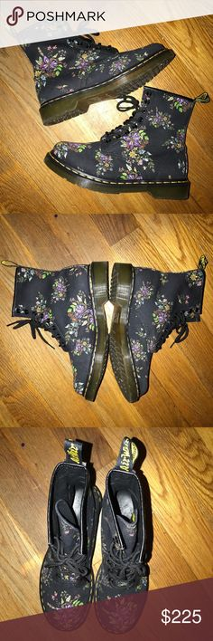 Dr Martens Floral Boots Women Size 9/9.5 nike.rare Shoes are in great prepared condition with box and 100% authentic. The size is a women's 9. Other than some light wear as shown, they're like new.  Please view all photos and details provided because there are NO returns, trades or exchanges! Payment is due immediately or you will be reported! Any questions, let me know. Thanks. Dr. Martens Shoes Lace Up Boots