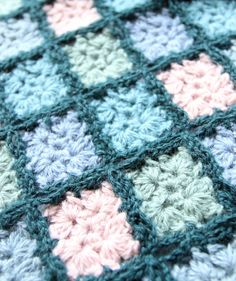 SALE Scarf Mosaic design, hand crocheted scarf in shades ranging from green to blue with a touch of pink