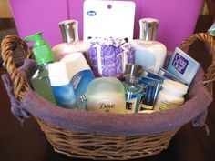 Bathroom baskets with lotion, tums, hairties, asprin, etc. for reception. Such a great idea!