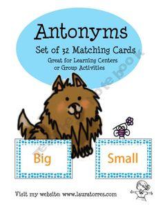 Opposites - Preschool: 32 matching cards for teaching opposites.