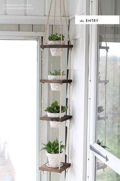 DIY room to room: Succulents - Planters - Ideas of Planters #Planters - Hanging planter DIY Decor Room, Diy Home Decor, Wall Decor, Rope Decor, Crafts Home, Diy Crafts Room Decor, Hanger Crafts, Room Art, Easy Crafts