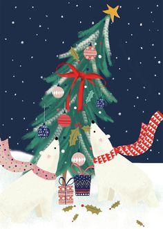 Sophie Hanton / Christmas tree and polar bear The Best Of Christmas, Merry Christmas, Winter Christmas, Cute Christmas Wallpaper, Xmas Wallpaper, Happy Winter Solstice, Christmas Tree Painting, Theme Noel, Nouvel An