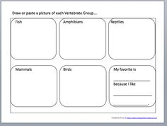 Five Classes of Vertebrates science notebooking page printable