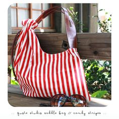 Quote studio  Canvas N Leather Saddle Drawstring Bag -- red/white