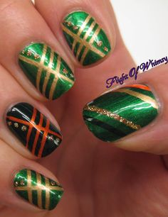 Green and Gold Stripped Nails