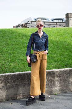 wide mustard pants, jean jacket, platform creepers