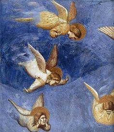 Giotto:  Lamentation ((detail)  1304-06    Cappella Scrovegni (Arena Chapel), Padova. Zo bijzonder dit kapelletje, volledig bedekt met fresco's...Liep hier vaak even binnen toen ik in Padova woonde. Tegenwoordig geloof ik alleen op afspraak te bezichtigen.