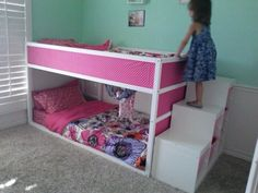 Ikea kura bunk bed and ikea trofast storage used to redo … Ikea hack. Ikea kura bunk bed and ikea trofast storage used to redo my girls room! Cama Ikea Kura, Ikea Kura Hack, Ikea Hacks, Ikea Bunk Bed Hack, Hacks Diy, Ikea Trofast Storage, Trofast Hack, Casa Kids, Bed Stairs