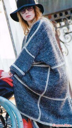 Пальто спицами. Модель Светланы Волкодав Zhurnal Mod, Knitted Coat, Knit Jacket, Long Sweaters, Fashion Backpack, Autumn Fashion, Knitting, Handmade, Wall