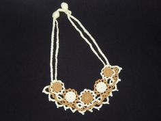 Handmade crochet floral necklace, beige and gold necklace