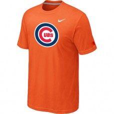 Wholesale Men Chicago Cubs Heathered Blended Short Sleeve Orange T-Shirt_Chicago Cubs T-Shirt