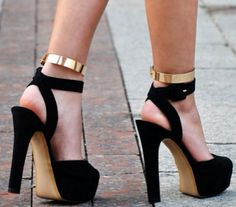 Gold ankle straps ♡ it