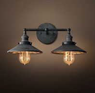 20th C. Factory Filament Reflector Double Sconce - Weathered Zinc-bath