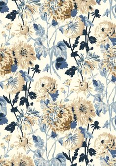 LONGWOOD, Blue and White, F94133, Collection Richmond from Thibaut