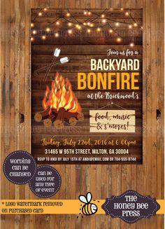 Bonfire Invitation  Rustic Wood bonfire by TheHoneyBeePress