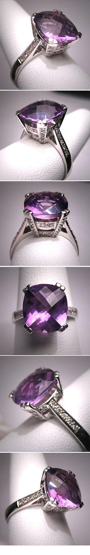 Vintage Amethyst Diamond Wedding Ring White by AawsombleiJewelry
