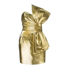 SAINT LAURENT Bow Mini Dress (7,675 BAM) ❤ liked on Polyvore featuring dresses, gold, corset style dress, short corset, short corset dresses, corset dress and strapless cocktail dresses
