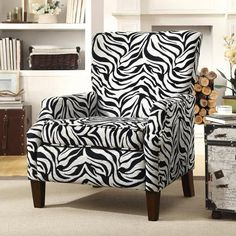 Coaster Zebra Pattern Accent Chair, Black/White