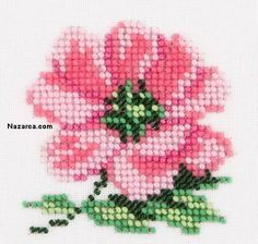 cam-boncuk-isleme-cicekler Small Cross Stitch, Cute Cross Stitch, Cross Stitch Rose, Cross Stitch Flowers, Counted Cross Stitch Patterns, Cross Stitch Designs, Cross Stitch Embroidery, Hand Embroidery, Seed Bead Art