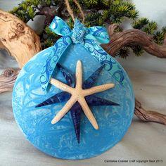 Blue beach ornament with star fish by CarmelasCoastalCraft on Etsy, $7.75