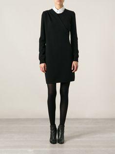 The subtle drape.  Love that they've styled it with a shirt under it. Saint Laurent drape detail dress.  So cute!