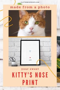 A special kitty nose print keepsake made with just a photo!  This unique cat owner gift idea is so easy. No messy ink or putty, simply snap a photo of your cat's nose and upload it with your order. Create a personalized nose print keepsake wall art print made just for you.  What a wonderful memorial idea to your furbaby. Always keep a reminder of your sweet kitty on display.  #noseprintkeepsake #catnoseprint #petlossgift #catgiftideas #catownergift
