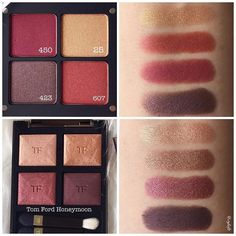 Comparison swatches of Inglot palette (dupe of Tom Ford Burnished Amber) and Tom Ford Honeymoon. Inglot shades on the palette are as follows: Top left: 450 (burgundy) Top right: 25 (gold) Bottom left: 423 (brown) Bottom right: 607 (red) They are quite different aren't they? The darkest brown shade is pretty similar. Wish I could get my hands on Tom Ford Burnished Amber!