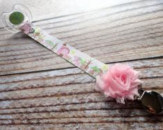 Baby Pacifier Clip Sweet Farm Animals Shabby Rose or Feltie Option Farming Country Boy Country Girl Cow Sheep Chick Horse