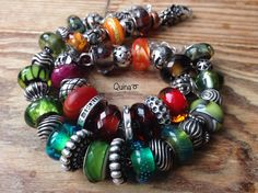 Green / Red Trollbeads,Elfbeads / Trollbeads Silver. By Quina Quini