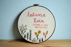 Custom Name Embroidery Hoop - Baby Name Embroidery - Birth Announcement - Nursery Wall Art - Embroidery Hoop Art - Baby Shower Gift