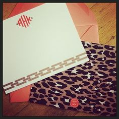 Monogrammed leopard printed notecards! | Custom by Nico and Lala