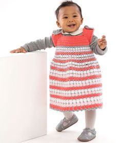 Artisan Baby Jumper Free Crochet Pattern in Red Heart Yarns - This artful color combination will complement baby's delicate complexion. This quality tested yarn comes in an array of artful brights, pastels and neutrals to please the choosiest of crochet artisans.