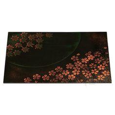 Size 4 wooden dia rectangle placemat - spring & autumn moonlight | Placemats | Fukui Craft | 50412020 | Wabi Japan