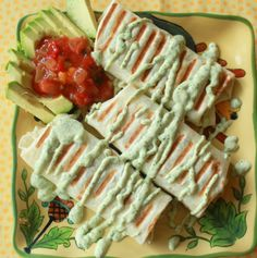Grilled Black Bean Burritos with Chicken (or Not) and Creamy Cilantro-Jalapeno Sauce