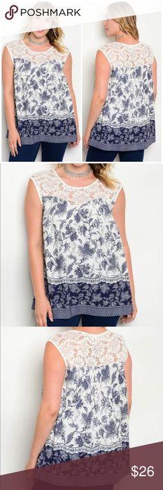 9c6fe29973f 🌻3 for  25🌻 PLUS SIZE  Navy White Crochet Top Navy White Crochet Pus