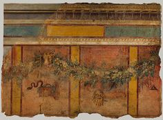 Garland with mask, basket, and bucrania (ceremonial bulls' heads): From Room L of the Villa of P. Fannius Synistor at Boscoreale [Roman] (03.14.4) | Heilbrunn Timeline of Art History | The Metropolitan Museum of Art