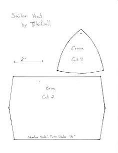 TikiDoll Dance: Sailor Hat Pattern and Instructions Hat Patterns To Sew, Clothing Patterns, Sewing Patterns, Sailor Cap, Sailor Dress, Goose Clothes, Sailor Costumes, Hat Tutorial, Diy Hat