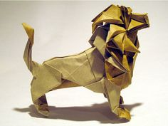 Amazing Japanese art of paper folding Origami Art works.The goal of this art is to create a representation of an object using geometric . Origami Lion, Origami And Kirigami, Oragami, Origami Paper Folding, Paper Crafts Origami, Lion Illustration, Art Japonais, Origami Tutorial, Paper Toys